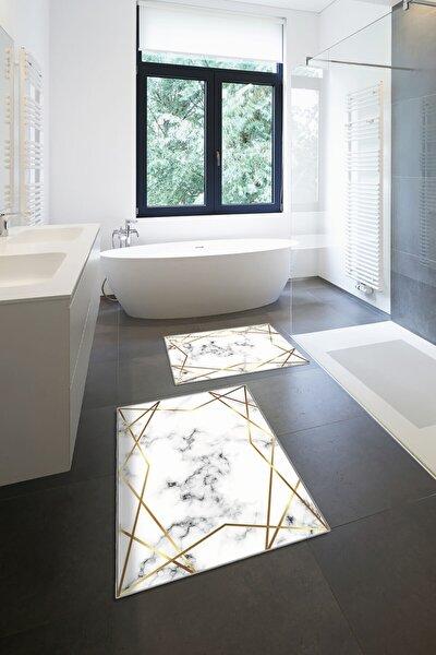 60x90 - 50x60 Dijital Banyo Halısı Kaymaz Tabanlı Klozet Takımı 2'li Paspas Seti