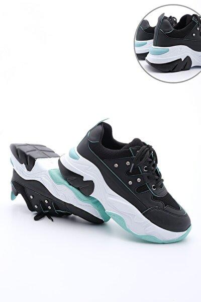 Atrin Kadın Dolgu Topuk Sneaker Spor Ayakkabısiyah
