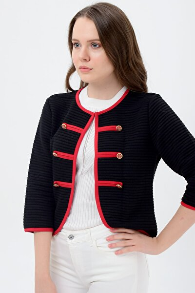Kadın Siyah Kırmızı Şeritli Ceket