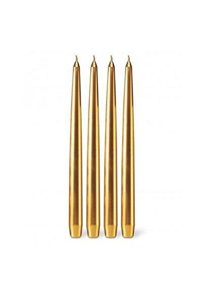 4 Adet Altın Konik Şamdan Mumu,gold Şamdan Mum 25 Cm Çok Şık