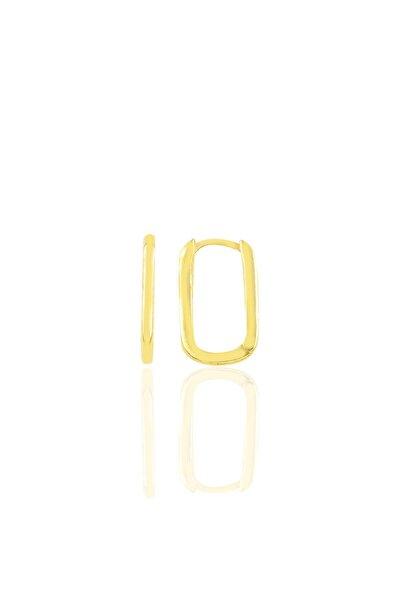 Gümüş Altın Yaldızlı 17 Mm Sade U Modeli Küpe