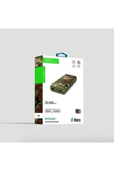 Taşınabilir Power Bank Şarj Aleti Yeşil Kamuflaj Recharger 20.000mah 2bb157yk