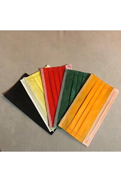 5 Farklı Renk 50 Adet 3 Katlı Maske