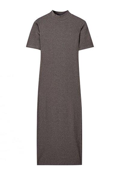 Kadın Gri Kısa Kollu Midi Likralı Elbise