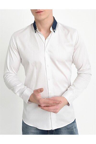 G 1405 Slim Fit Beyaz Klasik Gömlek
