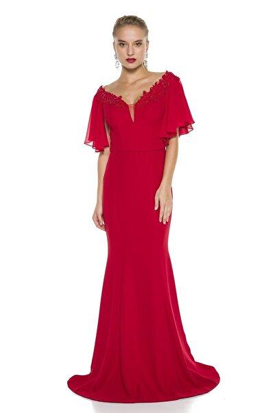 Kırmızı Kol Ve Yaka Detaylı Balık Abiye Elbise