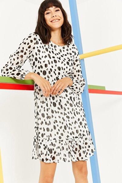 Kadın Beyaz Yazlık Kısa Şifon Elbise