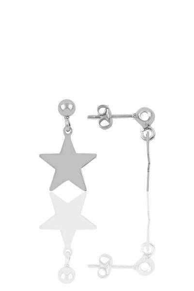 Gümüş Rodyumlu Yıldız Modeli Küpe