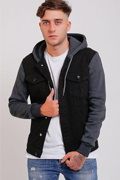 Denim Siyah Kapüşonlu Kot Ceket
