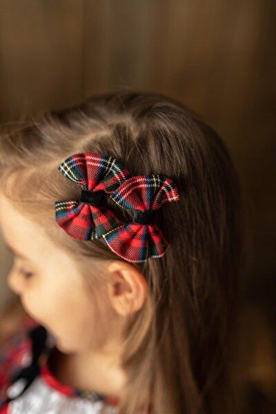 Kırmızı Kız Çocuk 2'li Klips Fiyonk Scotch