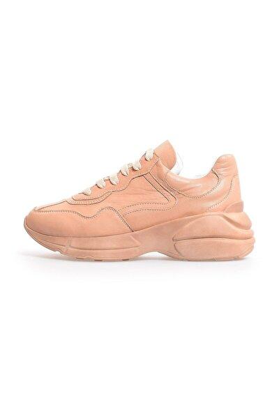 Nude Deri Bağcıklı Kadın Sneakers