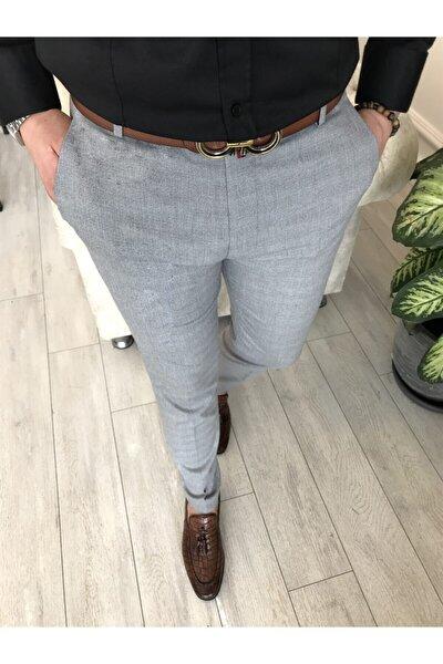 Italyan Stil Slim Fit Erkek Kumaş Pantolon Gri T4256