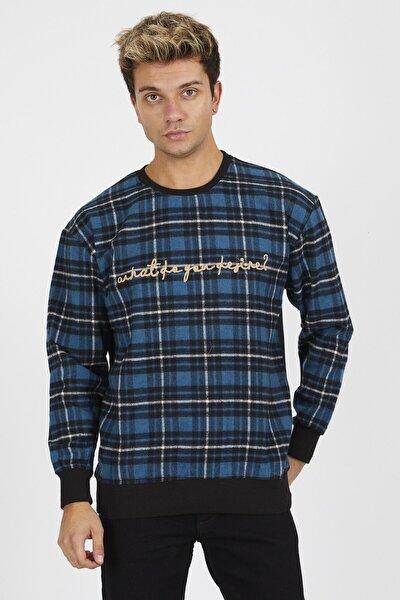 Erkek Ekose Oduncu Mavi Sweatshirt
