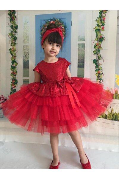 Kırmızı Pul Payet Kız Çocuk Elbisesi