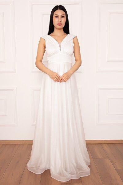 Ruby 13280 Simli Tül Uzun Elbise