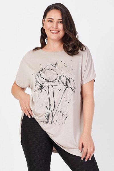 Büyük Beden Bej Salaş Deste Çiçek Baskılı T-shirt
