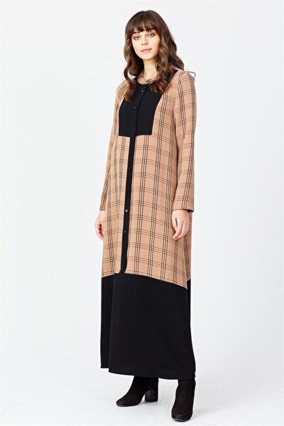 Ekose Elbise Camel-siyah