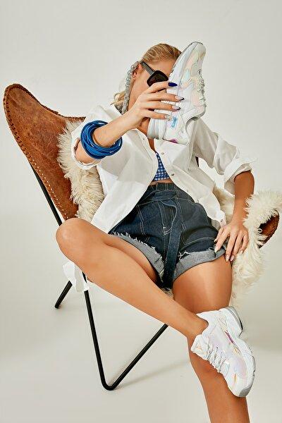 Beyaz Mavi Kadın Sneaker L0613626022