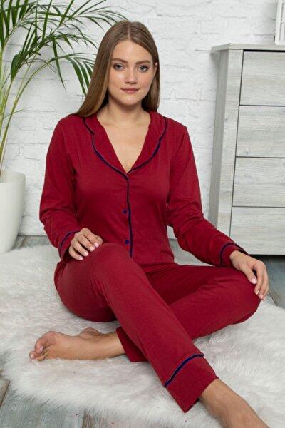 Kadın Düğmeli Uzun Kol Pamuklu Likralı Pijama Takımı