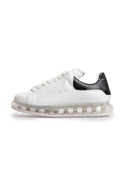 Beyaz Siyah Deri Şeffaf Taban Erkek Sneakers
