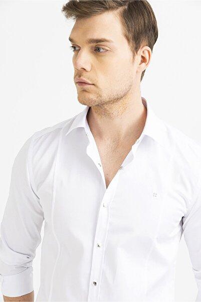 Erkek Beyaz Düz Klasik Yaka Slim Fit Gömlek B002217