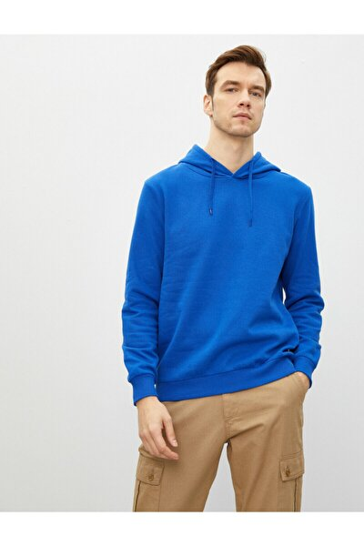 Erkek Mavi Kapüşonlu Pamuklu Uzun Kollu Basic Sweatshirt