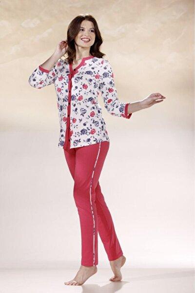Kadın Kırmızı Beyaz Gül Desenli Pijama Takımı