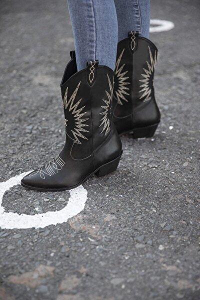 Dallas Bayan Nakışlı Deri Bot Siyah