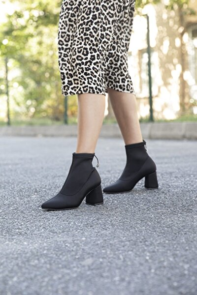 Batty Bayan Streç Topuklu Bot Siyah