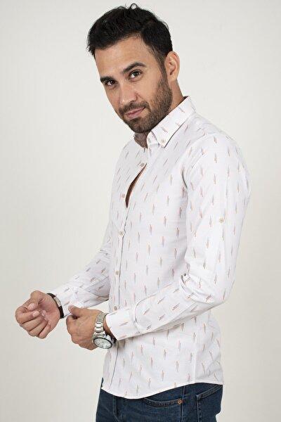 Erkek Koyu Beyaz-mavi Noktalı Desenli Regular Fit Gömlek 2013159