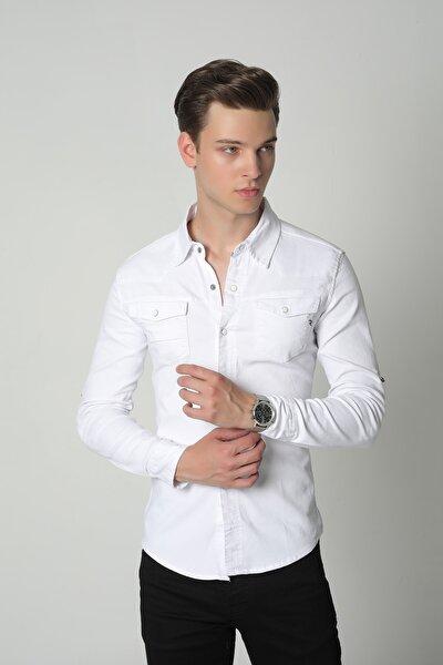 Beyaz Erkek Çıt Çıtlı Çift Cep Slim Fit Kot Gömlek