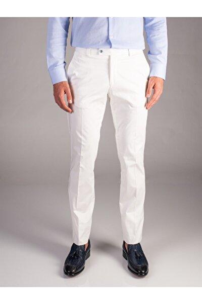 Beyaz Düz Erkek Pantolon - Regular Fıt