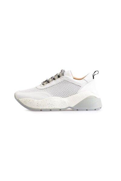 Beyaz Yüksek Tabanlı Bağcıklı Spor Ayakkabı
