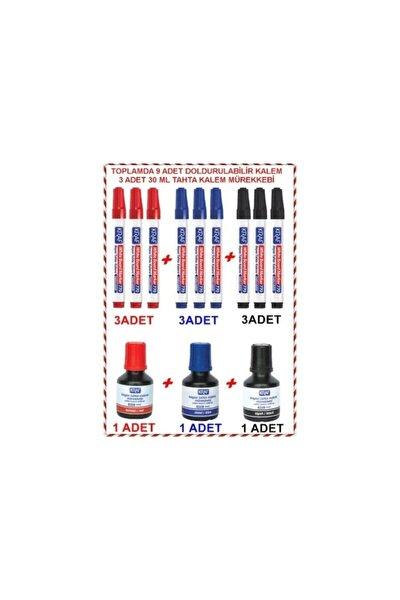 770 Doldurulabilir Tahta Kalemi 9 Adet + Tahta Kalemi Mürekkebi 3 Adet Her Renk