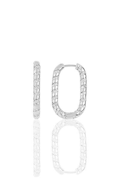 Gümüş Rodyumlu Zirkon Taşlı Özel Tasarım Oval Küpe