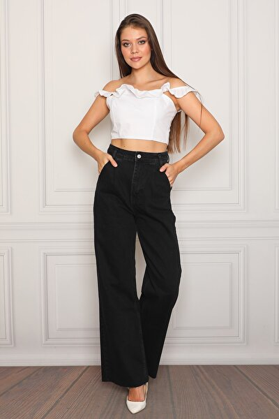 Süper Yüksek Bel Geniş Paça Pileli Siyah Wide Leg Jean Bayan Pantolon