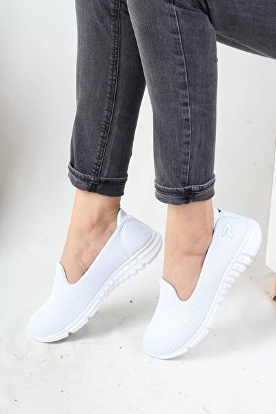 Akıllı Taban Spor Babet Beyaz Renk Esnek Kadın Ayakkabı - Flex
