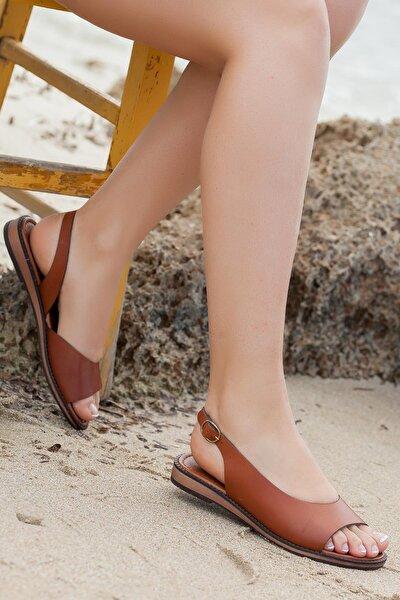 Hakiki Deri Taba Kadın Deri Sandalet Dp-0076