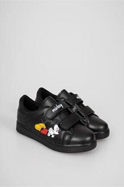 Çocuk Siyah Çırtlı Günlük Spor Ayakkabı