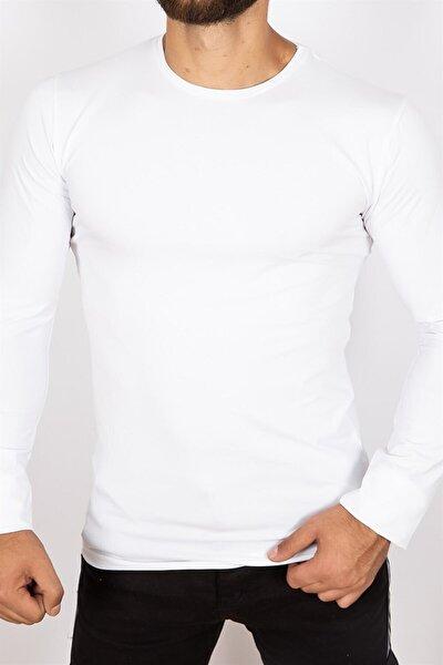 Mylife Erkek Bisiklet Yaka Basic Sweatshirt-beyaz