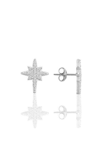 Gümüş Rodyumlu Kutupyıldız Modeli Küpe