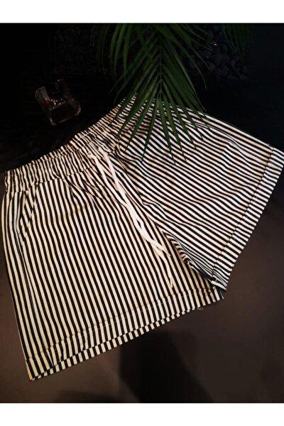 Siyah Beyaz Çizgili Short