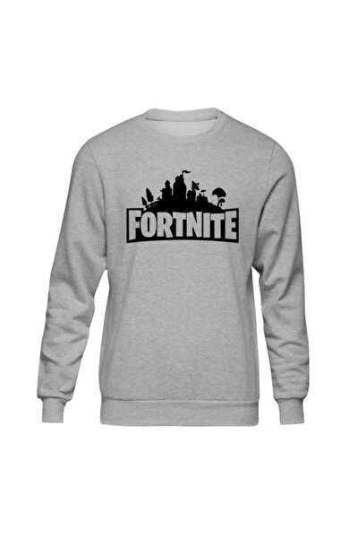 Fortnite Logo Gri Sweatshirt
