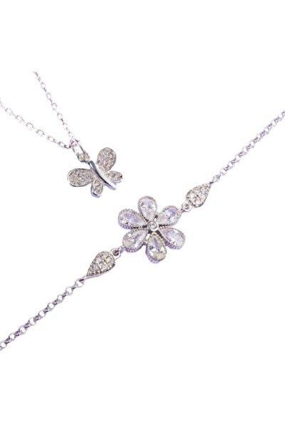 925 Ayar Gümüş Kelebek Kolye Ve Çiçek Tasarım Bileklik Kombin