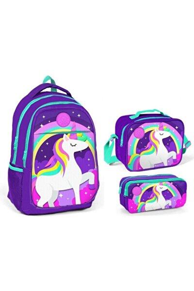 Kız Çocuk Mor Yaygan Kids Unicorn Baskılı Mor Ilkokul Ve Ortaokul Çanta Seti