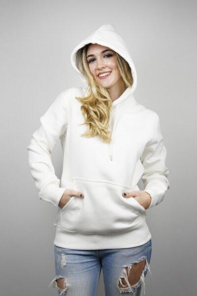 Kadın Basic Beyaz Hoodie