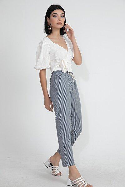 Koton Kumaş Çizgili Beli Lastikli Kadın Havuç Pantolon
