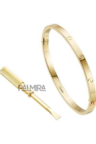 Gold Renk Ince Cartier Love Çelik Bileklik