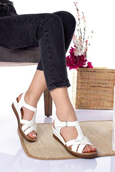 Ortopedik Ped Içi Deri 3 Şeritli Beyaz Cilt Sandalet
