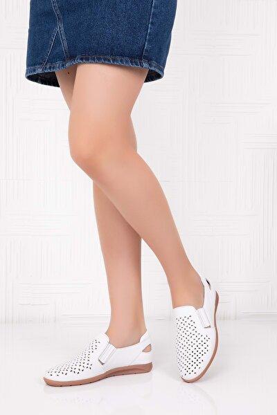 Hakiki Deri Ortopedik Taban Günlük Ayakkabı Beyaz 37 Esfa.152y